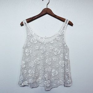 Forever 21 Cream Floral Lace Cropped Tank